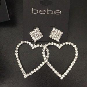 New bebe Crystal Diamond & Hearts Earrings BLING!